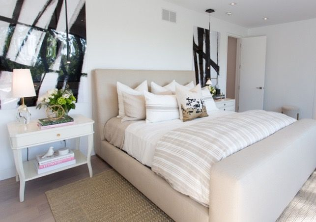 #Marguerite house bedroom from #BryanInc seen on #HGTVCanada featuring furniture from Cocoon: #Lange bed, bed linens, art work, #WestPaces nightstand. Photo: Alison Spencer. #bryanbaeumler #sarahbaeumler
