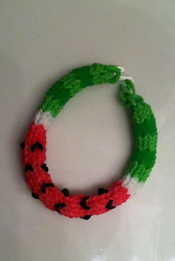 Watermelon Rainbow Loom Bracelet. Rainbow Loom is one of the top gifts for kids, and every kid seems to have at least one piece of rubber band jewelry.