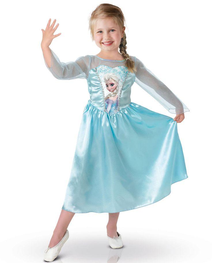 Disfraz de Elsa Frozen™  niña: Este disfraz de princesa Elsa Frozen™ incluye un vestido (zapatos y peluca no incluidos).El vestido es de color azul con efecto satinado y tiene una foto de la princesa Frozen en el busto.Las...