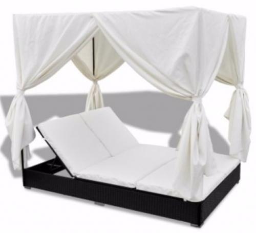 Double Patio Sun Lounger Garden Rattan Outdoor Furniture Set Daybed Sunbed Black #DoublePatioSun