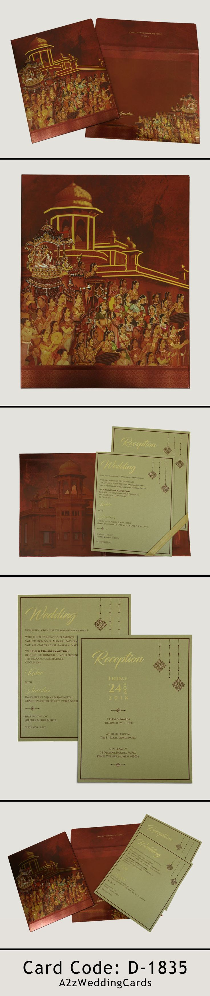 Shimmery box themed offset printed wedding