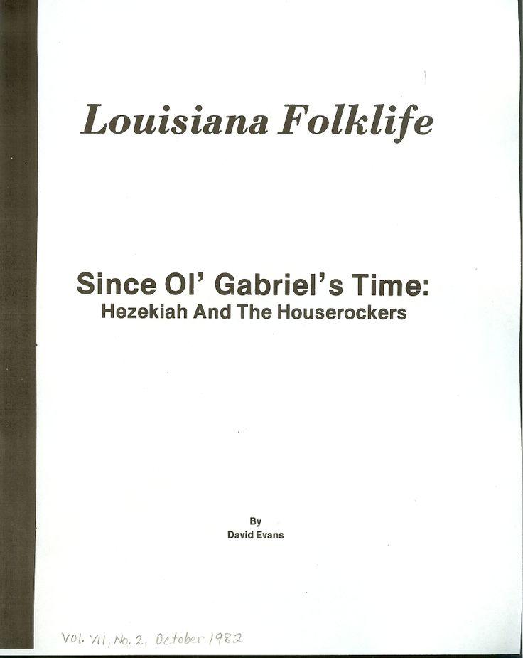 "Vol. VII., No. 2., October 1982 Evans, David. ""Since Ol' Gabriel's Time: Hezekiah and the Houserockers"""