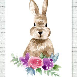 Süßer Hase zum Sofort Download    Häschen Ostern Bunny Hase Blumen Osterhase Wall Art Print