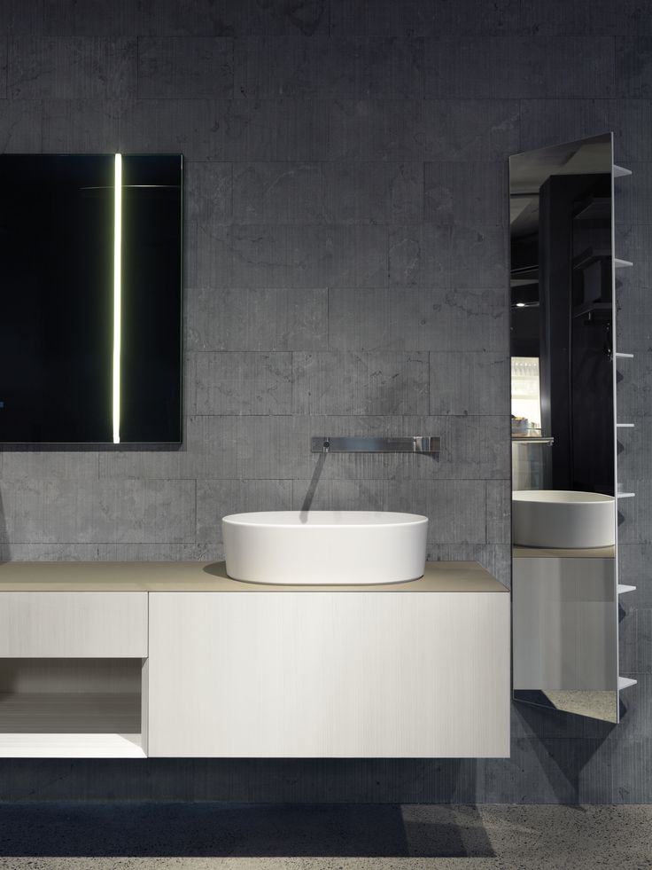Boffi - i Fiumi vanity, Sidel basin, Cut basin mixer, WK6 mirror with LED light, CT Line hanging storage unit with mirror, Salvatori wall tiles