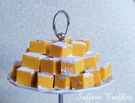 Mini Piccolini's Saffron White Chocolate Truffles - so delicious and so beautiful on a winter desert table!