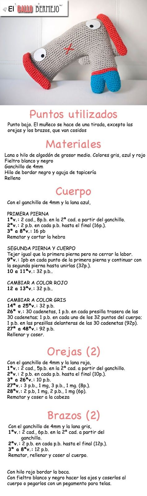 Patrón de 'Doguie the dog' Patrón gratis español - #amigurumi #free #pattern @El Gallo Bermejo