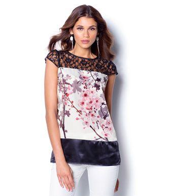 Blusa mujer manga corta con canesú de encaje Moda Mujer 1A Venca
