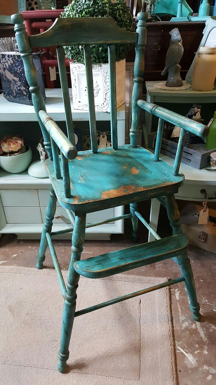 Antique high chair custom painted. The Blue Door of Greenville