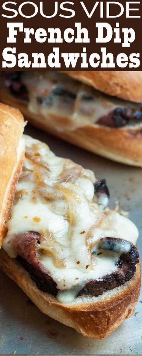 Sous Vide French Dip Sandwiches! Cooking sous vide makes the most tender roast beef EVER. Perfect starter recipe if you're new to sous vide cooking. #sponsored