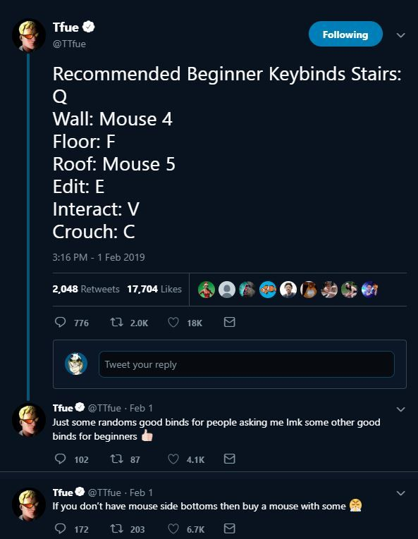 FaZe Tfue claims these are the best Fortnite keybinds for