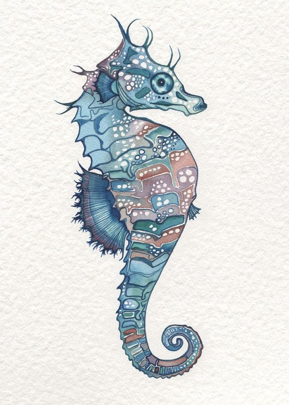 Sea Horse in whimsical watercolours 5 x 7 print of detailed hand painted artwork in aqua blue green teal earth tones