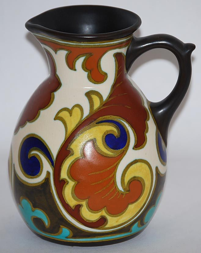 Gouda Pottery 1929 Gluck Pitcher Artist Signed from Just Art Pottery