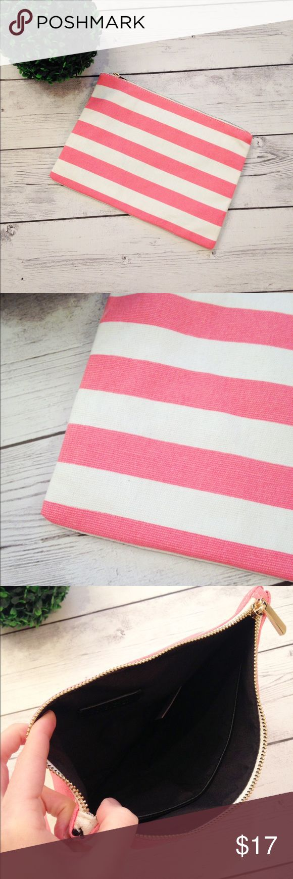 "NWOT Pink And White Striped Clutch NWOT. Adorable pink and white striped clutch from Forever 21. Never been used. Approximately 11"" long and 8"" tall. Zip closure. Inside has 2 open style pockets. Canvas. From a smoke-free, pet-free building. *Stripes may appear a little brighter in person. Forever 21 Bags Clutches & Wristlets"