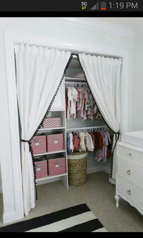 Remove closet doors and replace with curtains. Adorable!
