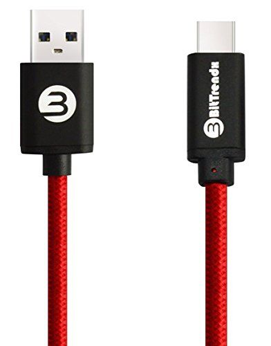 USB Type C to USB 3.0 Cable BitTrendx 6.6Ft/2M Metal Shell Nylon Braided USB 3.1 USB C to USB 3.0 Type A Male Data Sync & Charging Cord for Google Pixel Nexus 5X 6P LG G5 OnePlus 2 3 Huawei P9 (Red)