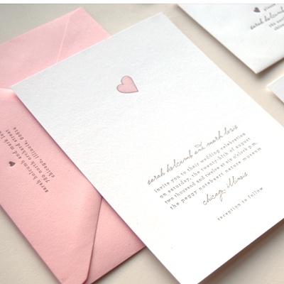 Sweetheart letterpress wedding invitation by Kimberly FitzSimons