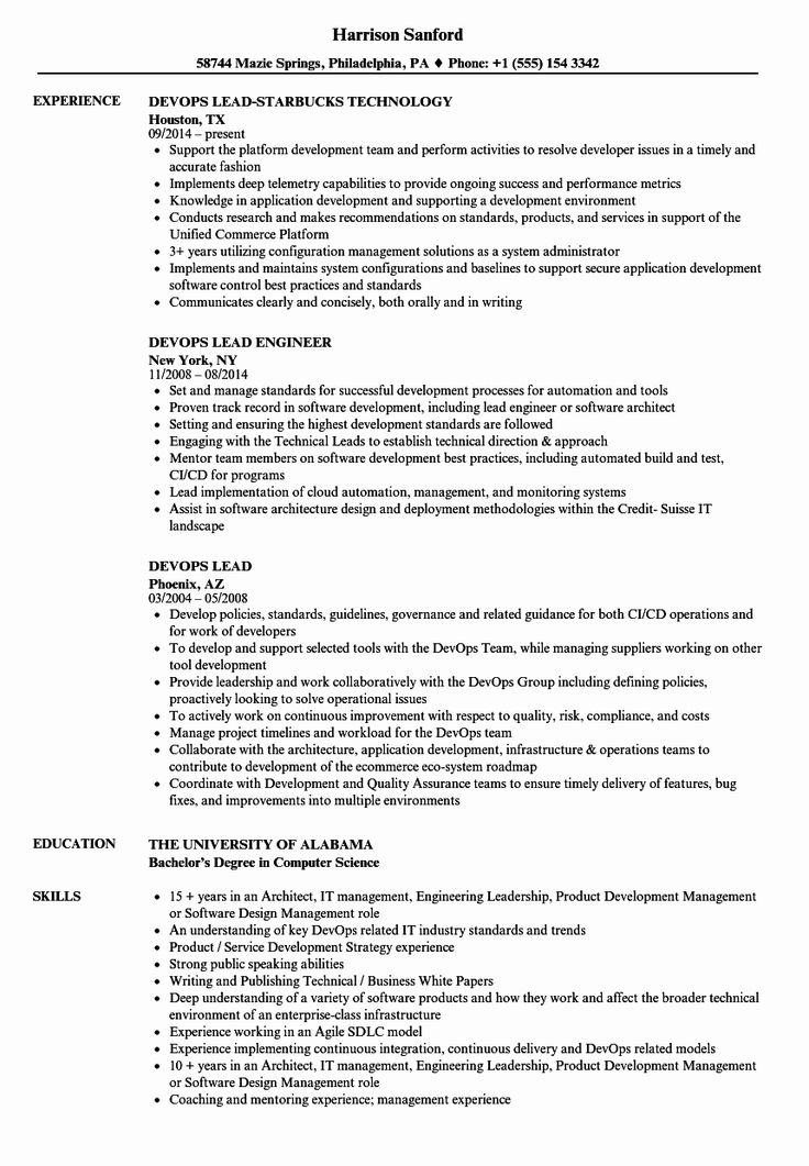Aws Cloud Engineer Resume Awesome Devops Lead Resume