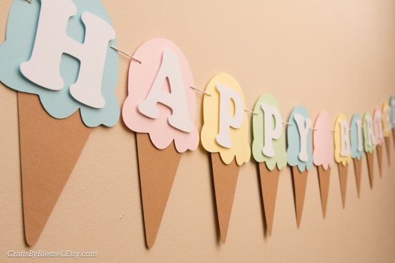 Ice Cream Birthday Banner, Name Banner, Ice Cream Cone, Ice Cream Sundae Theme Party, Pastel Colors,  Ice Cream Flags, Ice Cream Garland