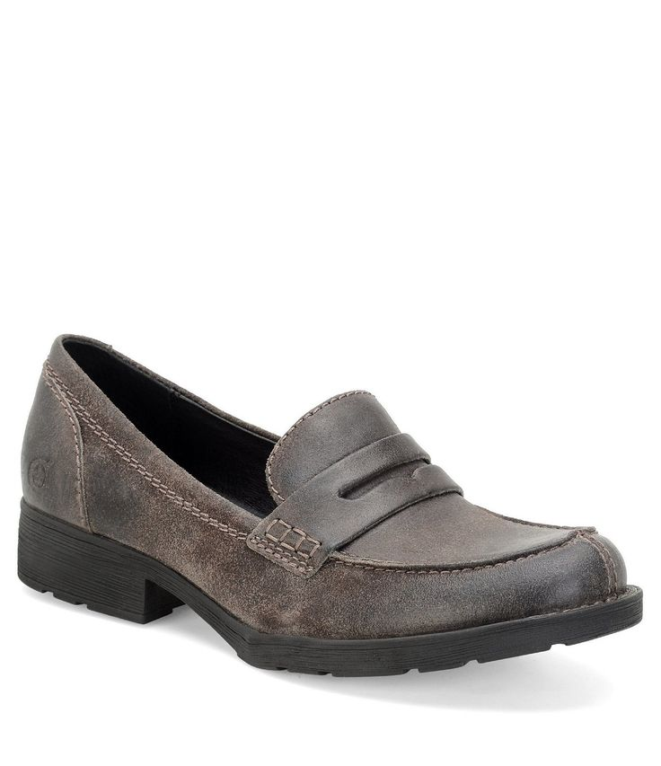 Born Burr Distressed Leather Block Heel Penny Loafers #Dillards
