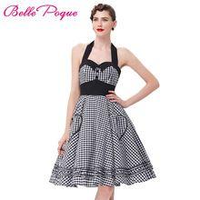 Лето в Стиле Женщины Dress 2016 Плюс Размер Одри Хепберн Платья плед Халат 50-х годов 60 s Vintage Рокабилли Подколоть Качели Vestidos Dress(China (Mainland))