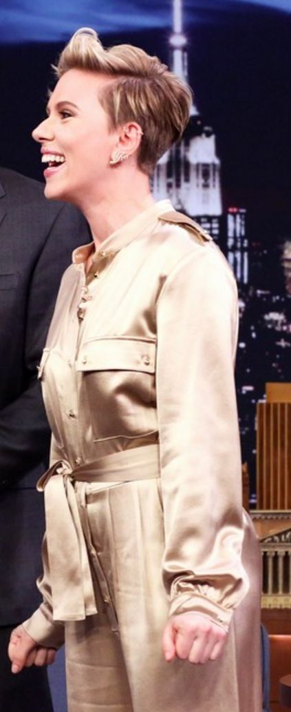 Who made Scarlett Johansson's tan jumpsuit and satin nude sandals?