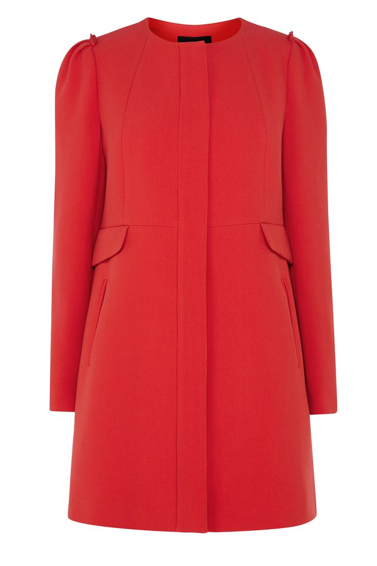 A beautiful coat perfect to keep you snug in the colder months. The Nolita Crepe Coat has a fitted tailored shape to flatter and a round neck. The subtly pleated detailing at the shoulders add a classic touch. Featuring hidden buttons and side pockets, team this fully lined functional coat with all your separates this season for a chic on trend style.