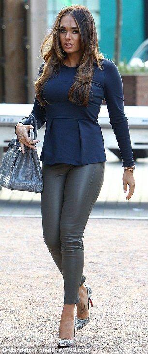 Tamara Ecclestone in peplum and leather