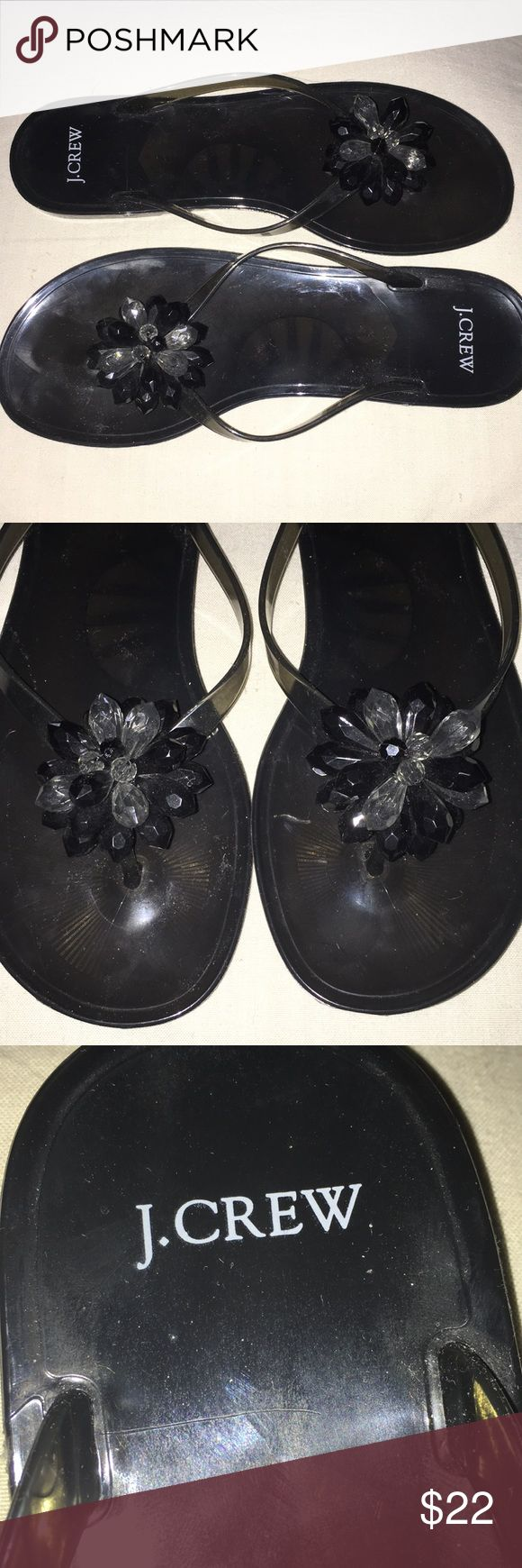 J.Crew Jelly Flip Flops with Beaded Detail Smokey Grey flip flops. Beaded design at the top of plastic.  Never worn. J. Crew Shoes Sandals