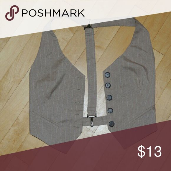 Cute belly top vest Button down cream vest with white pin stripes and back out Jackets & Coats Vests