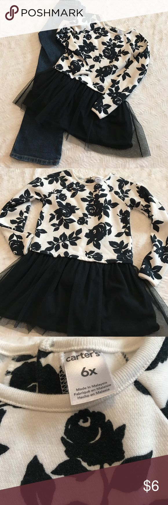 Girls tulle peplum top. Carters size 6x girls tulle peplum long sleeve top. Only worn about 2-3 times. Looks so cute with red or pink leggings or jeans. The inside of the top is a fleece so is very warm also. Carter's Shirts & Tops Blouses