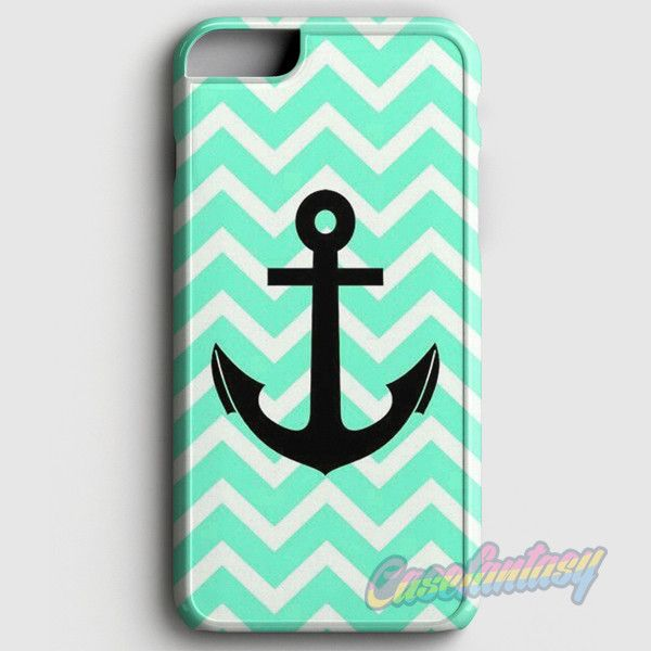 Aqua Chevron With Black Anchor iPhone 6/6S Case | casefantasy
