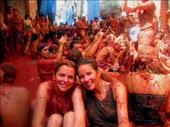 Tomatina Throwing Tomatoes Festival Spain Bunol Valencia