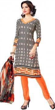 Trendy Black And Orange Crepe Printed Straight Salwar Suit With Dupatta.