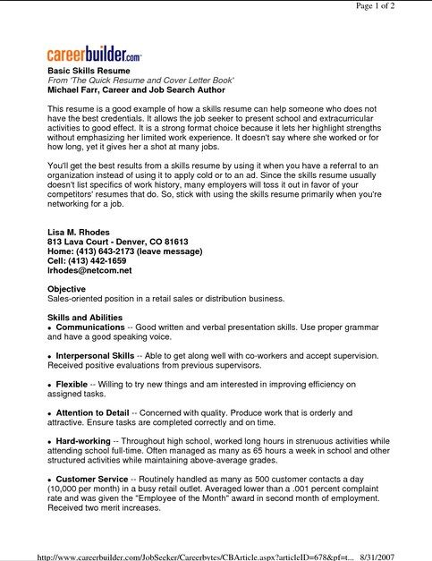 7 best Basic Resume Examples images on Pinterest Sample resume - resume samples for retail sales associate