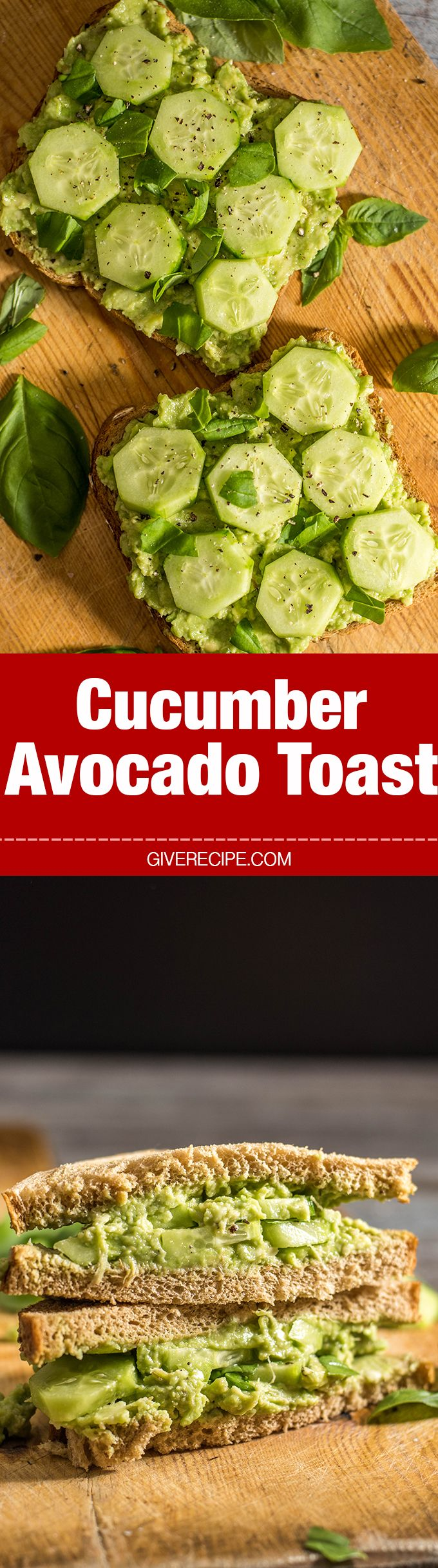 Make this Cucumber Avocado Toast whenever you need quick, easy yet tasty and healthy lunch. This has become my favorite summer sandwich! Vegan too. - giverecipe.com