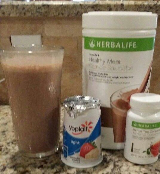 Double chocolate pick me up shake! 2 scoops Dutch chocolate Herbalife shake powder, 1 strawberry white chocolate yoplait light yogurt, 2 tsp. Herbalife tea, 12 oz. skim milk, blend twenty seconds, enjoy!