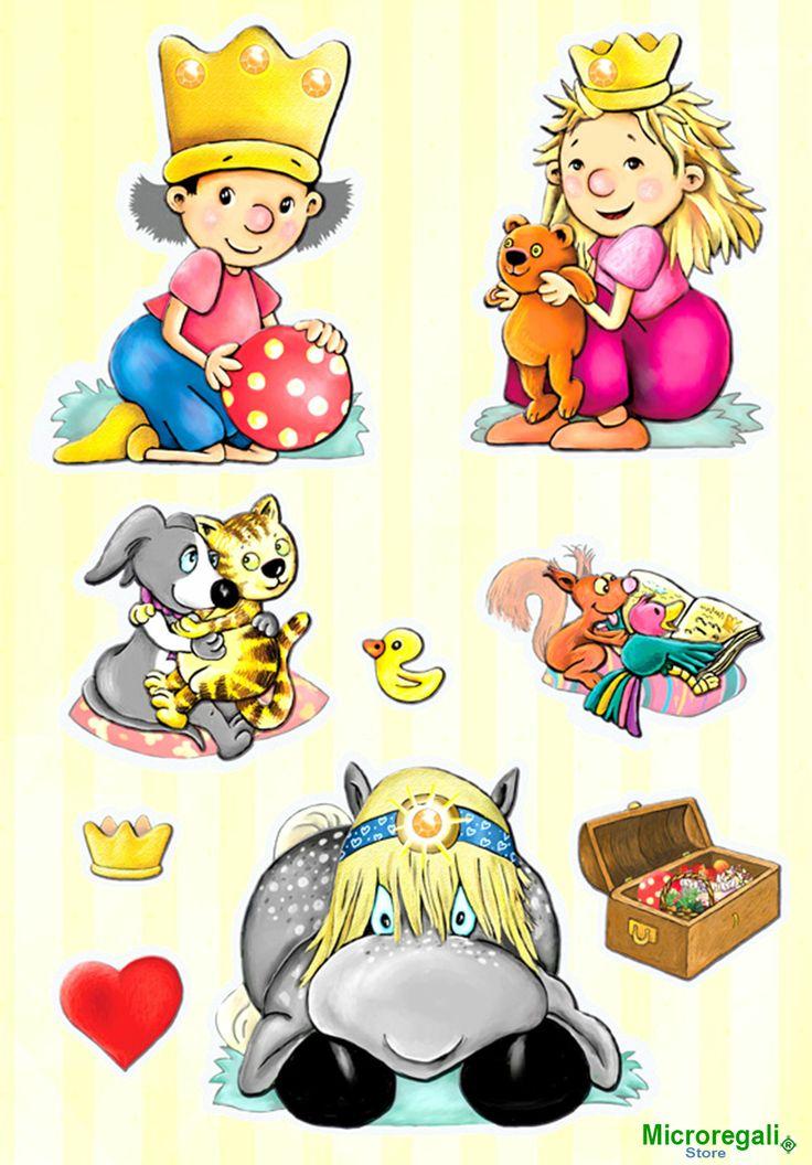 Adesivi murali 3d personaggi fiabe cm 30 5 x 30 5 per - Adesivi per cameretta bambini ...