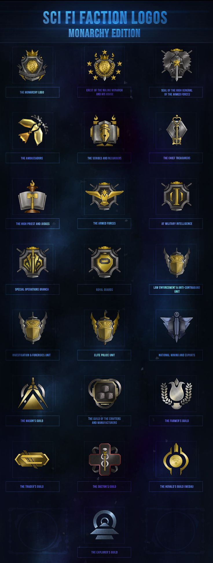Sci-Fi Faction Logos - Monarchy Edition by VengeanceMK1.deviantart.com on @DeviantArt