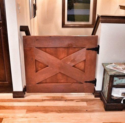 Custom Made Rustic Barn Door Style Baby Gate Rustic