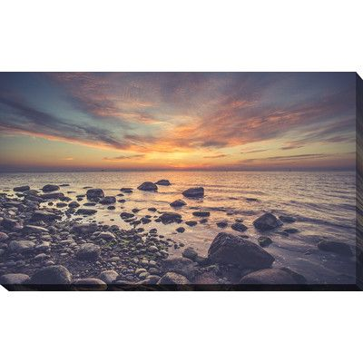 PicturePerfectInternational 'Sunrise Over the Baltic Sea Gdynia Orlowo' Photographic Print on Wrapped Canvas Size: