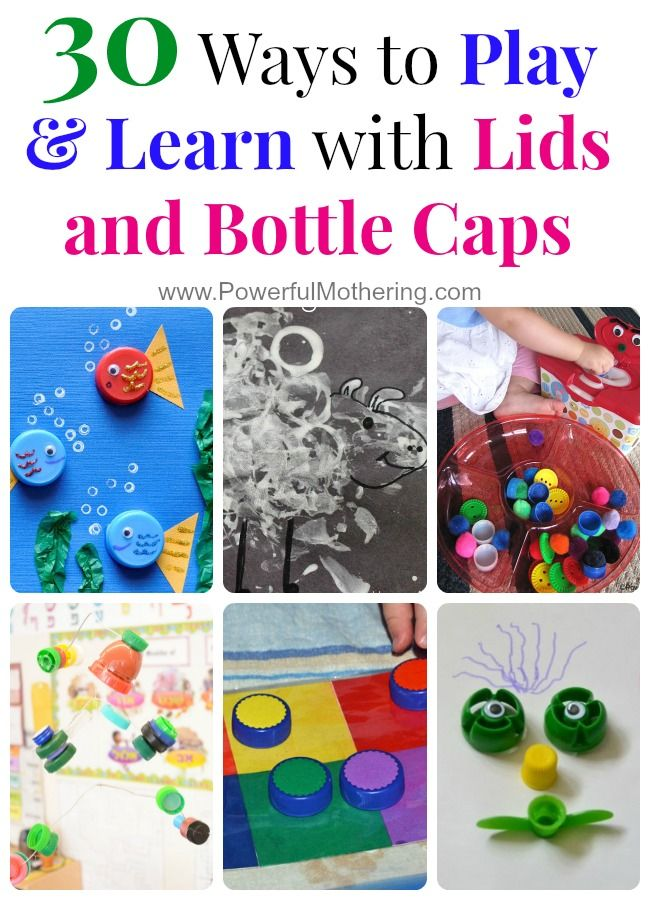 30 Ways to Play & Learn with Lids and Bottle Caps - isn't recycling things into crafts for kids so fun! <3