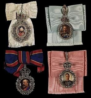 royal family orders: (clockwise from top L.) George IV, George V, George VI, Edward VII