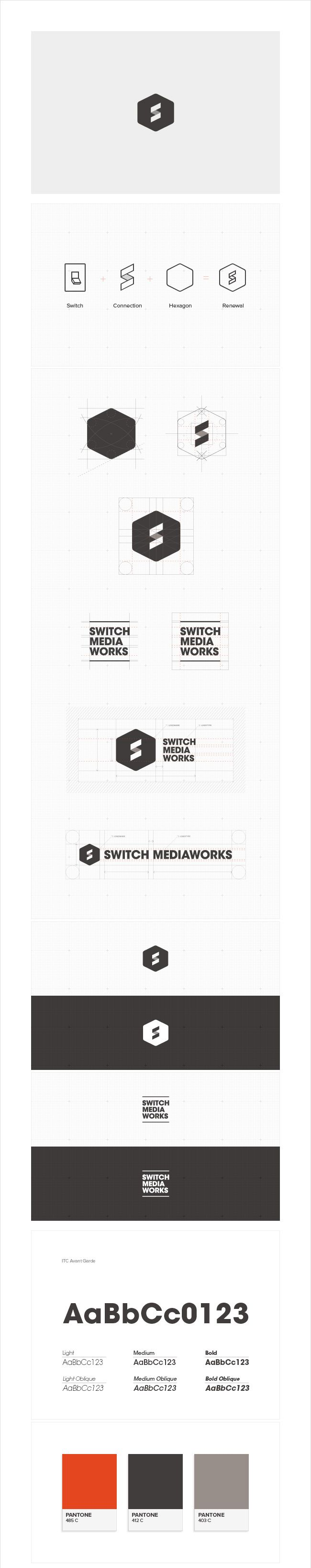 Identity for a web/motion Design Agency in Korea/USA. Switch Media Works