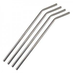 Set of 4 reusable high food grade #304 stainless steel bent straws. Features a wide internal diameter ideal for smoothies and thick shakes along with other drinks.