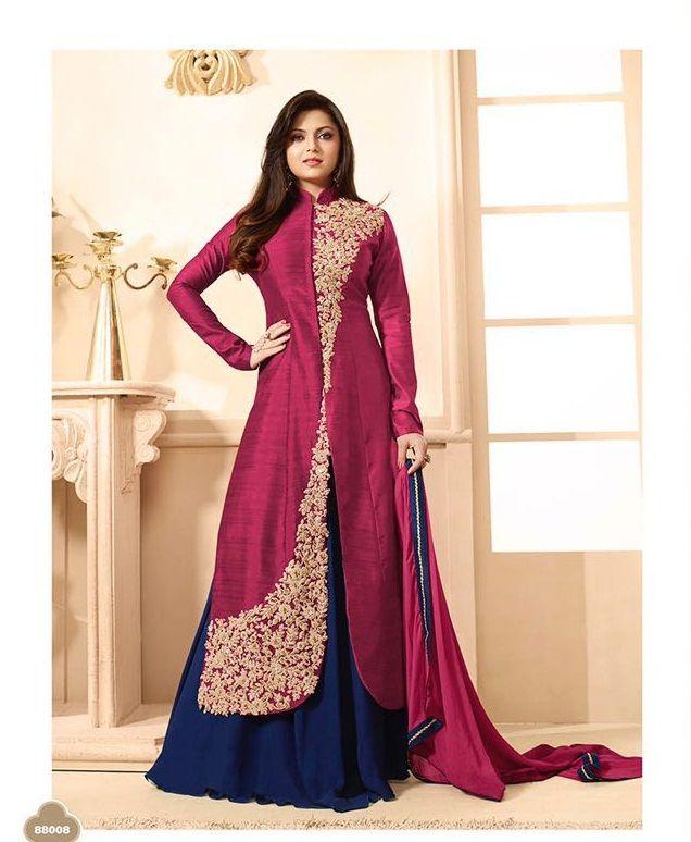 Stylish Dark Pink Bhagalpuri Designer Straight Suit