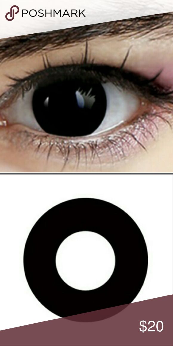 Cosplay Demon Black Contacts Black demon eyes contact lenses. Non Prescription. No prescription nessesary.14.5 6mm diameter. 12 month contact lenses with proper care. A free lense case will be sent along with these contact lenses. Wear for comicon,Halloween,cosplay, or just to freak people out! Lots of fun. Accessories Glasses