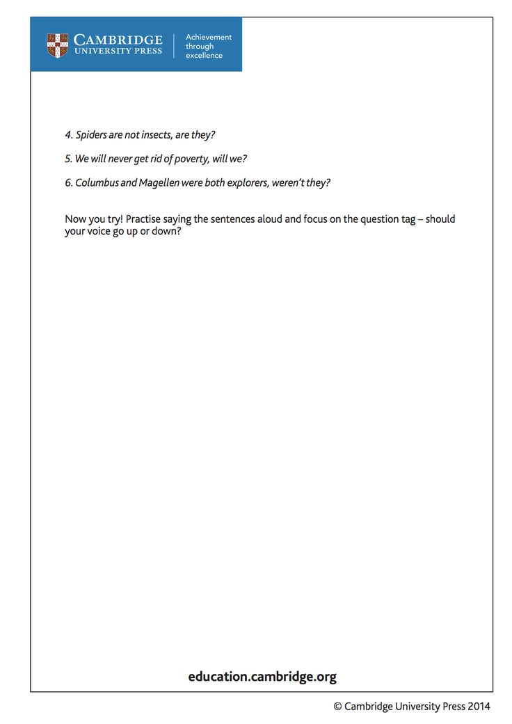 Transcript (page 2) for training video on question-tags for learners of English as a Second Language with Cambridge author Peter Lucantoni.Take a look at the video and try answering the questions. http://youtu.be/cH8N8VOQE_g?list=PL2HgNIO5uPKAr415r0Av5oTn4Nso2WqHd