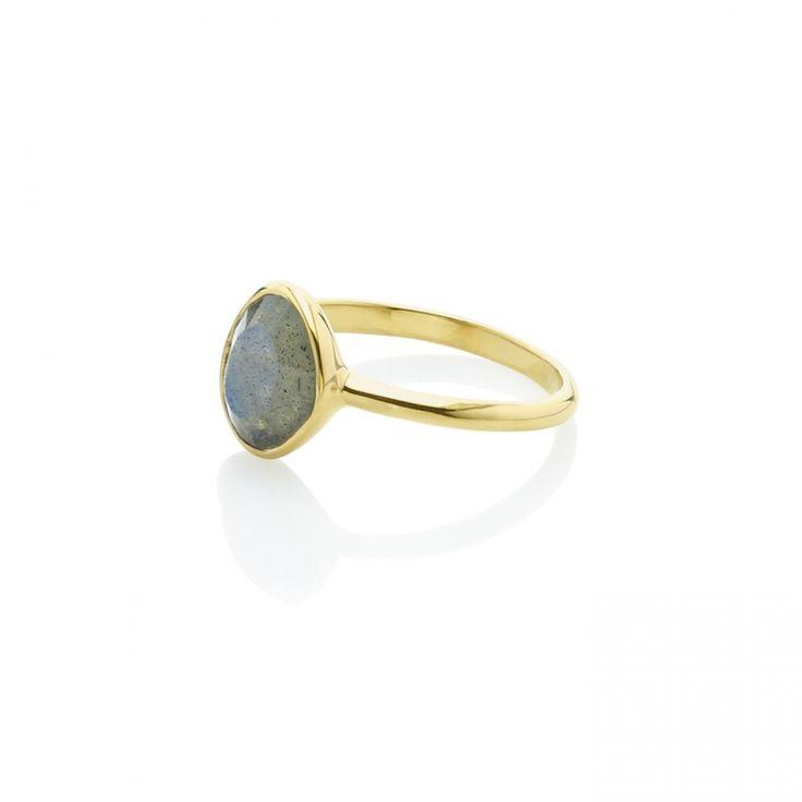 Anillo circular Labradorita Material: Plata de 925 bañada en oro de 18k con Labradorita. Medidas de la piedra: Longitud: 10 mm - Ancho: 8 mm