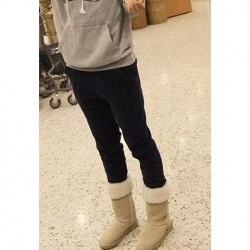 $6.85 Casual Style Solid Color Thicken Cotton Blend Fleece Pants For Women