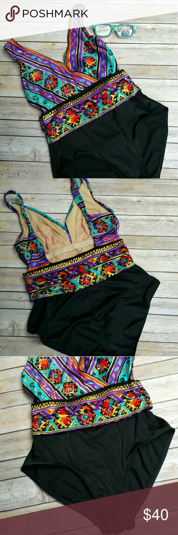 """Vintage Hi Cut One Piece Gorgeous Tribal Swimsuit Catalina Vintage vneck with low back one piece swim suit in bold bright colors and a tribal pattern .  Pattern is outlined with inca gold metallic color. This suit is in excellent condition.Band across middle wraps around back as well. Hi cut on the thigh leg openings. Lining is NOT padded and is simple nude in color as shown. This suit is tagged size 12.Vintage Runs Small. Measurements : Length shoulder to crotch 27 1/2"""" 13 across front…"""